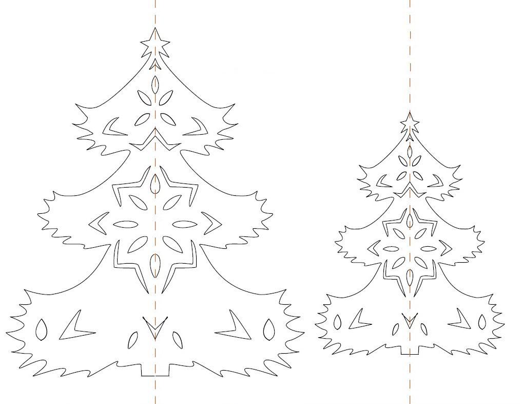 новогодняя елка из бумаги на окно схема