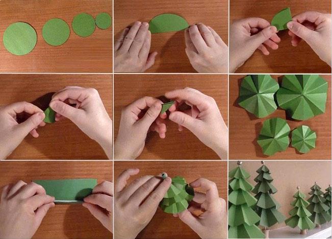 Ёлки из бумаги своими руками легко и