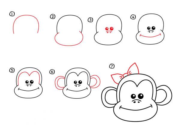 как нарисовать морду обезьяны карандашом поэтапно фото