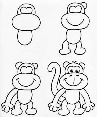 как нарисовать обезьяну фото