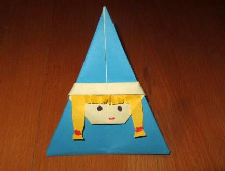 Как сделать из бумаги снегурочку оригами