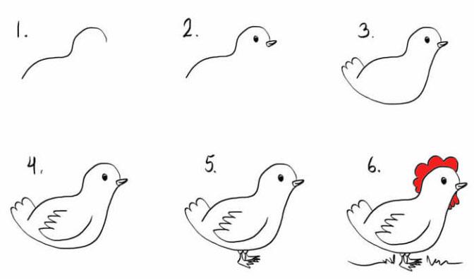 как быстро нарисовать петуха