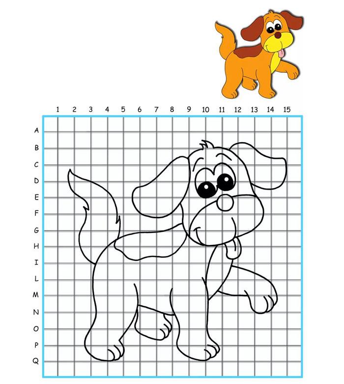 рисунок собаки по клеткам