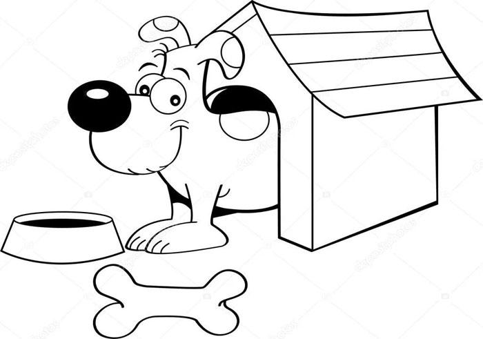 рисунок собака возле будки