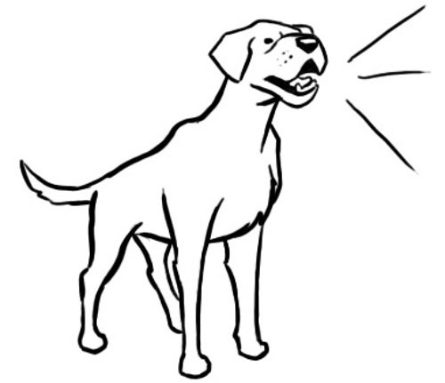 рисунок лающей собаки