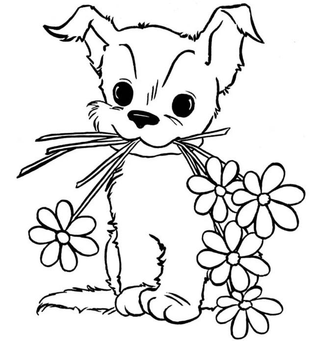 как нарисовать собаку с цветами