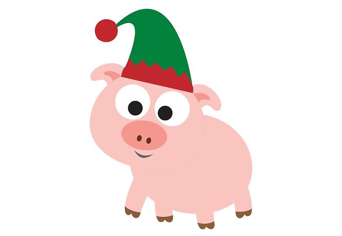 Как нарисовать новогоднюю свинью 2019м