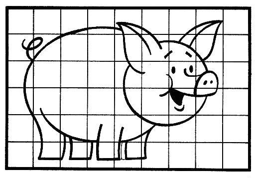 рисовать свинью по клеточкам