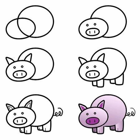как нарисовать маленькую свинью