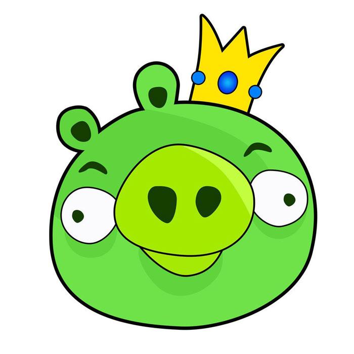 как нарисовать короля свиней из angry birds
