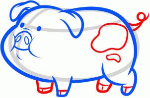 как нарисовать свинью из гравити фолз