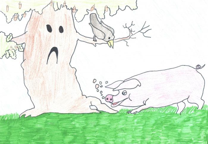 как нарисовать рисунок свинья под дубом