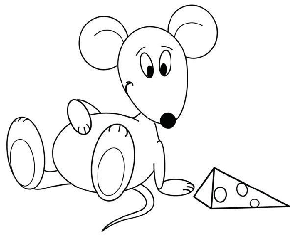 Рисунок мыши с кусочком сыра
