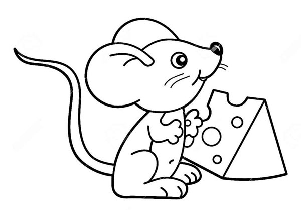 как нарисовать мышь с сыром