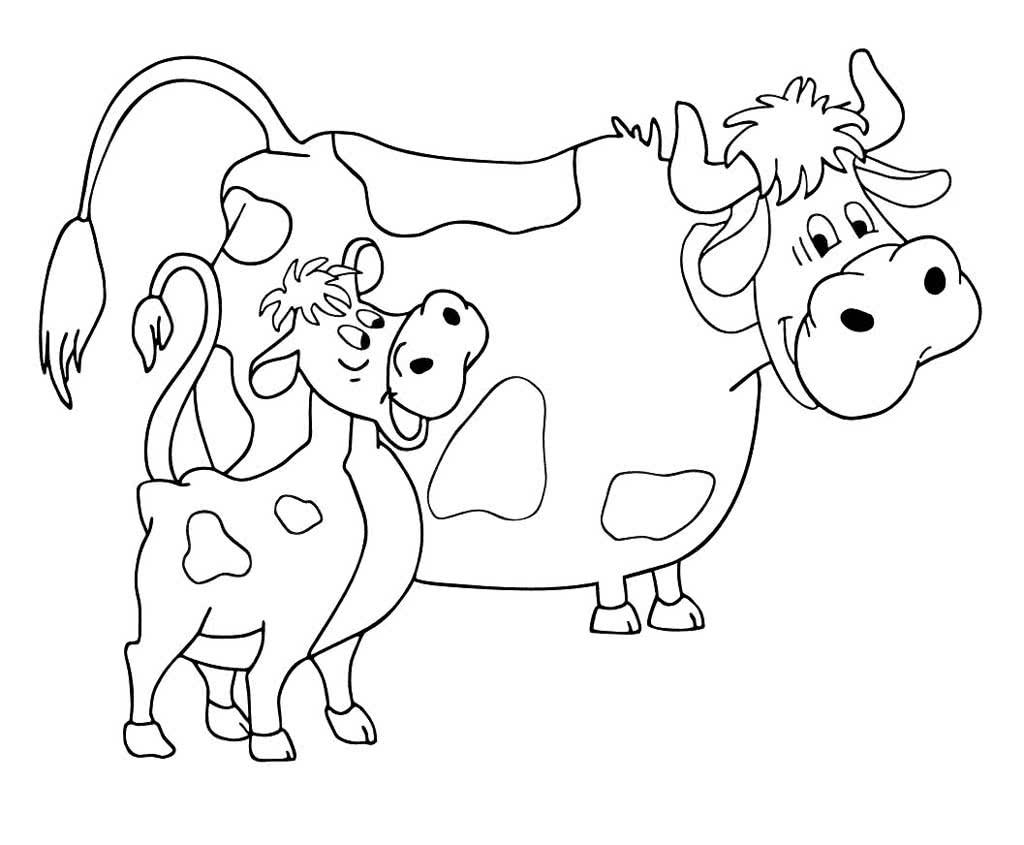 Раскраска Корова и Теленок