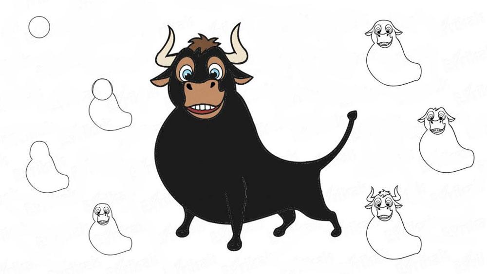 Как нарисовать быка Фердинанда