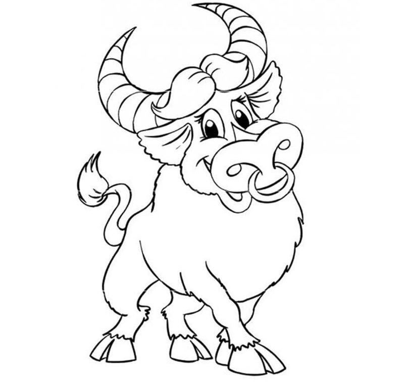 Добрый бык с кольцом в носу