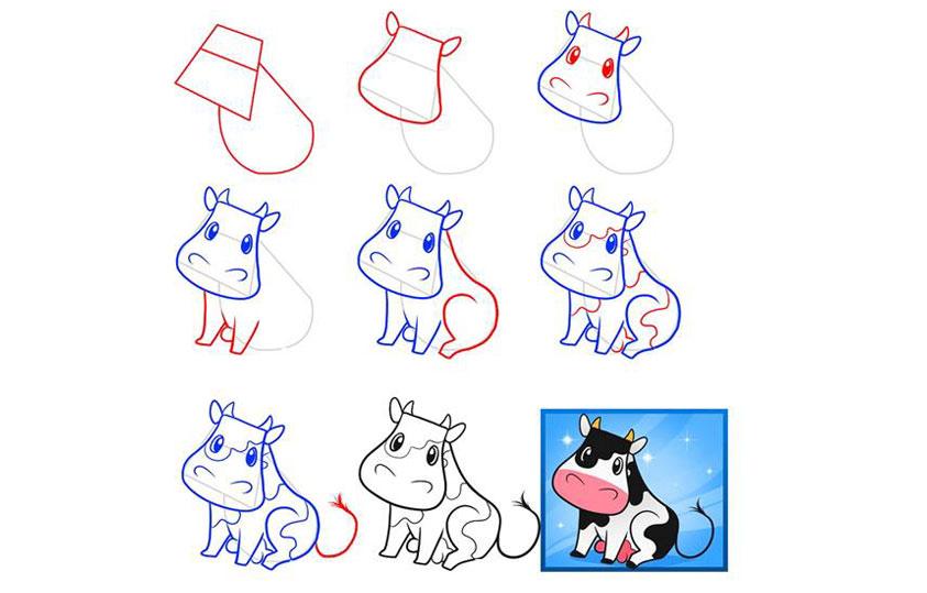 Нарисованная корова поэтапно