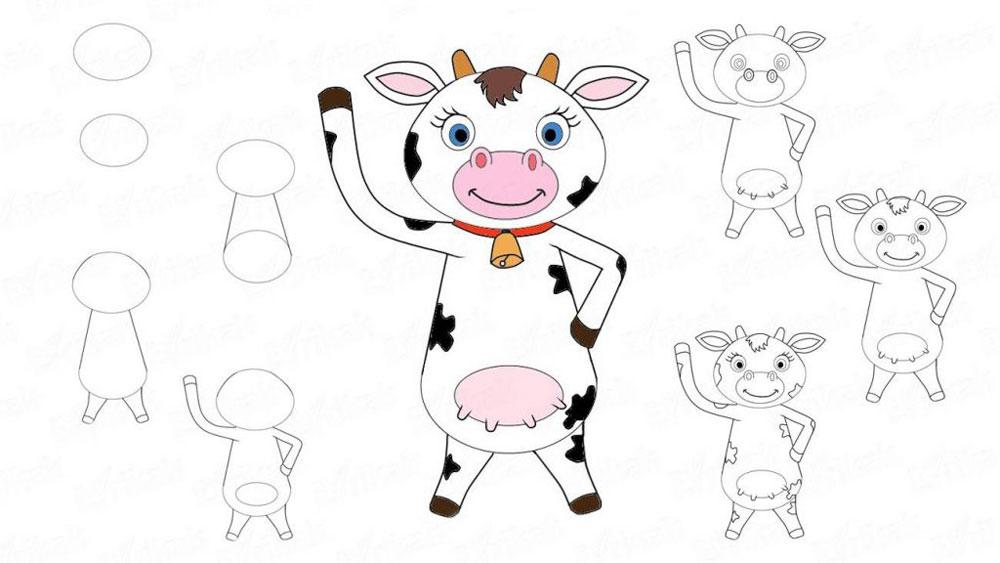 Рисуем корову пошагово