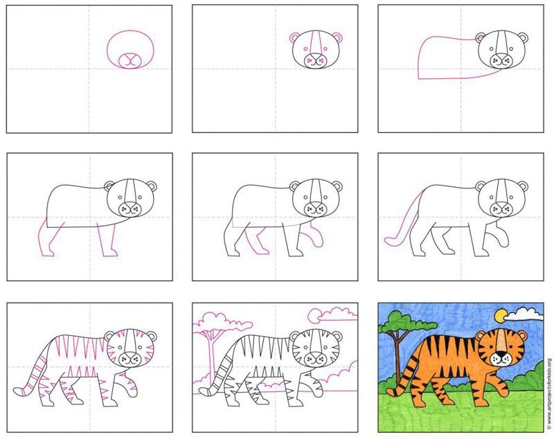 Детский рисунок тигра
