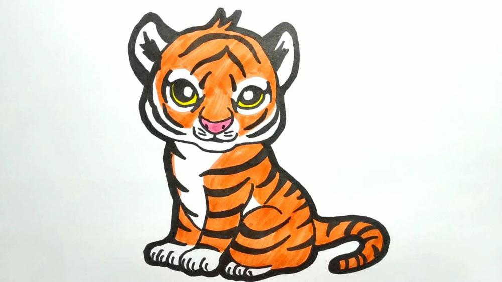 Как нарисовать тигра фломастером